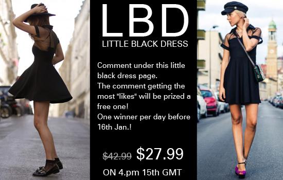 Romwe Little Black Skater Dress