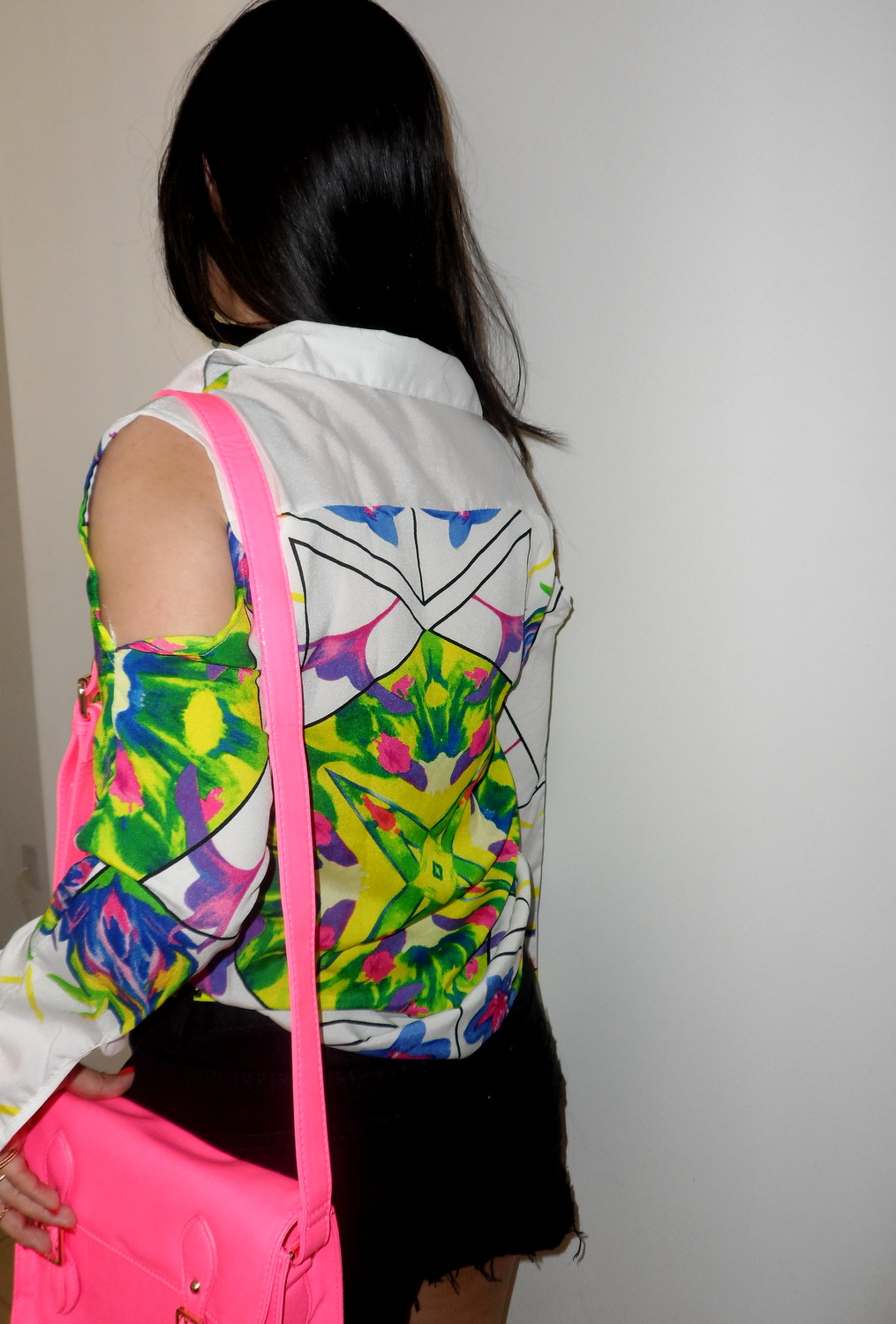 Look do dia - Floral Print, Neon, Pink and Black