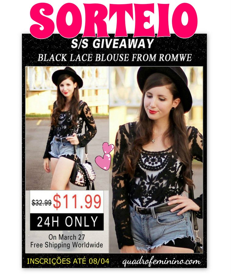 _Giveaway of Black Lace Blouse in 3D Romwe