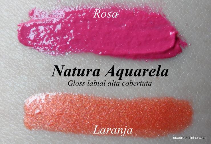 Gloss labial alta cobertura - Natura Aquarela - Rosa Pink e Laranja
