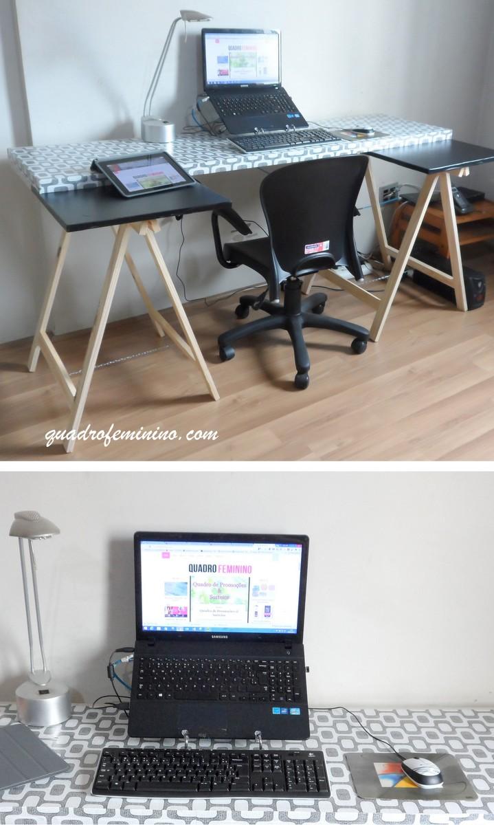 Mesa com porta, cavalete e papel contact