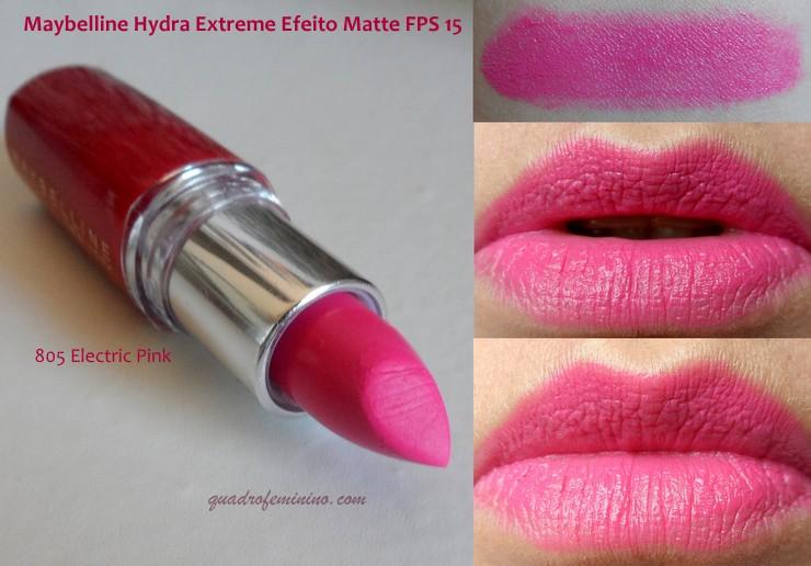 Maybelline Hydra Extreme com Colágeno Efeito Matte PFS 15 - Electric Pink