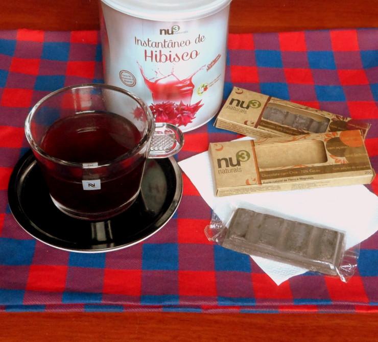 Chá Instantâneo de Hibisco com Colágeno e Chocolate com Chia Nu3