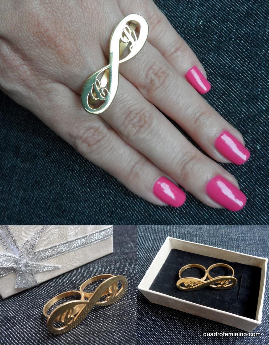 Onecklace - anel duplo infinito inicial banhado a ouro 24 k