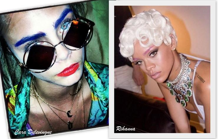 sobrancelhas coloridas _ Cara Delevingne e Rihanna