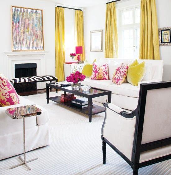 amarelo, branco, preto e pink