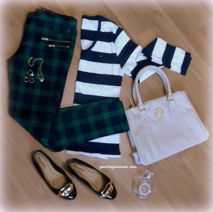 Calça xadrez, camisa listrada e sapatilha Piccadilly
