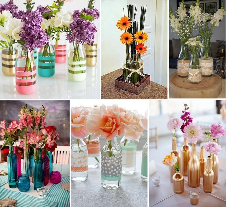 Garrafas como vaso de flores