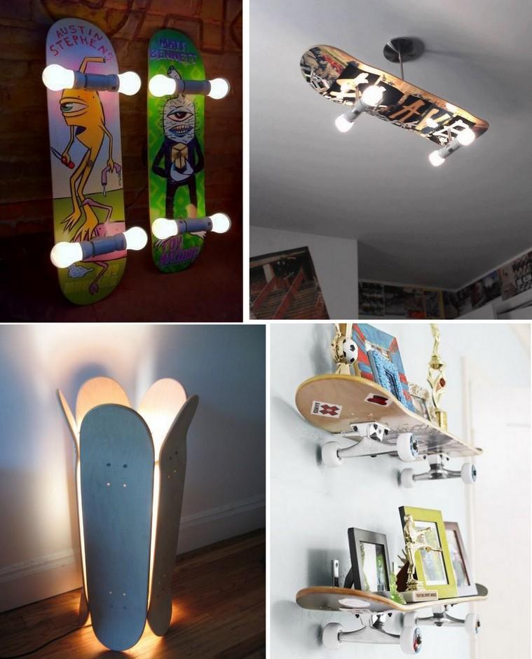Skates usados como luminárias e prateleiras