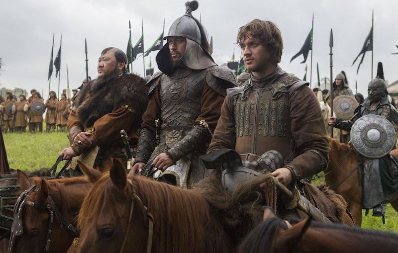 """(L-R) Benedict Wong, Uli Latukefu and Lorenzo Richelmy in a scene from Netflix's """"Marco Polo."""" Photo Credit: Phil Bray for Netflix. EP8"""